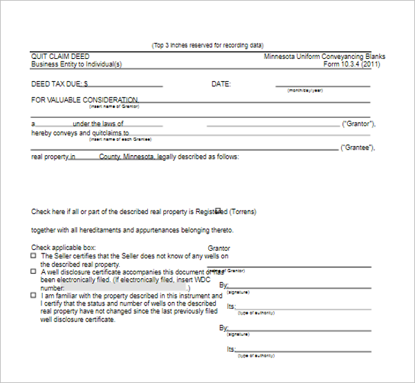 Simple Quit Calm Deed Template