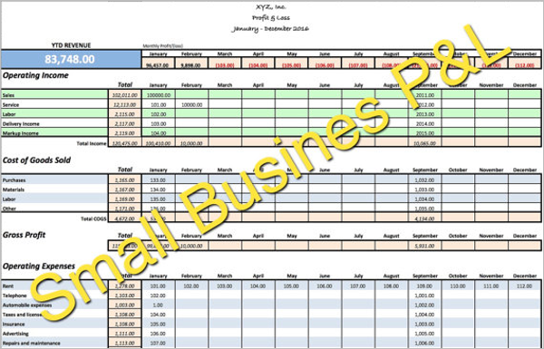 Small Business Income Template In PDF