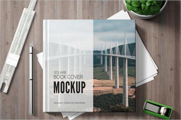 Square Book Mockup Template