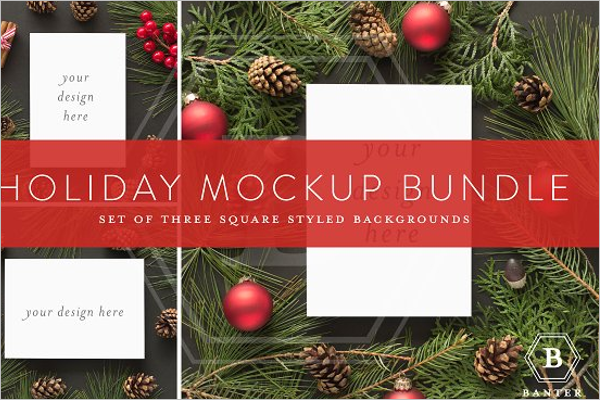 Square Christmas EPS Mockup Design