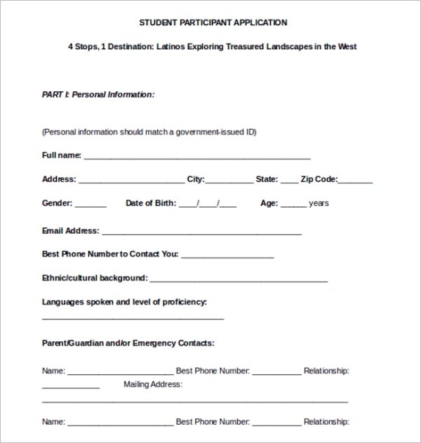 Student Participant Application Form