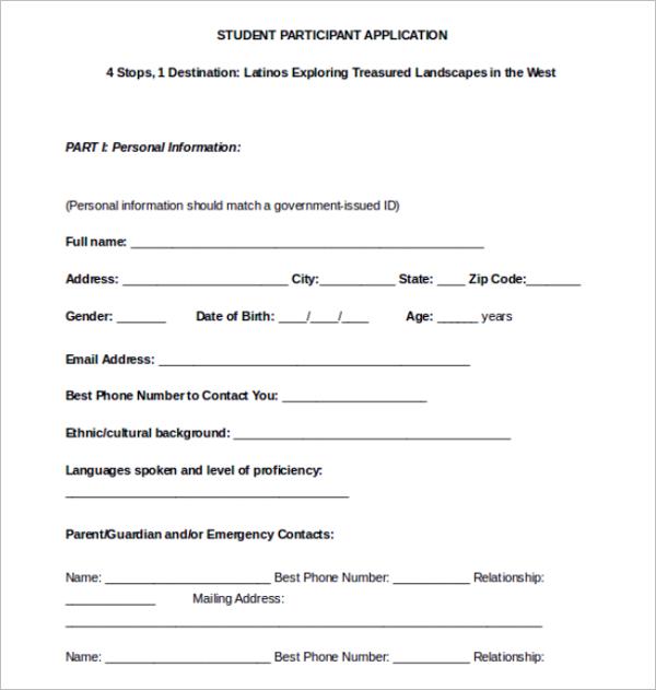 Student Participant Application Form