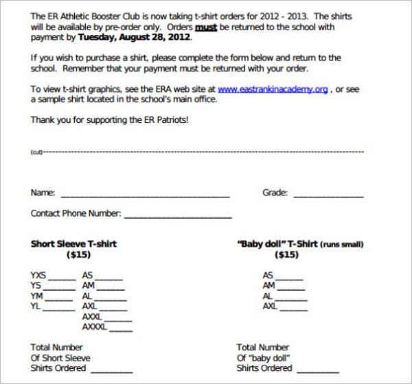 T-Shirt Order Form Template Doc