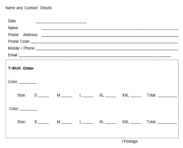 T Shirt Order Form Template Word  Contact Details Template