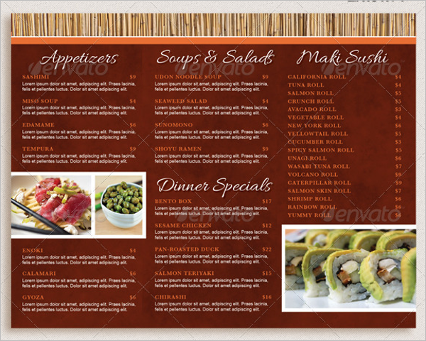 Take Out Menu Template  A La Carte Menu Template