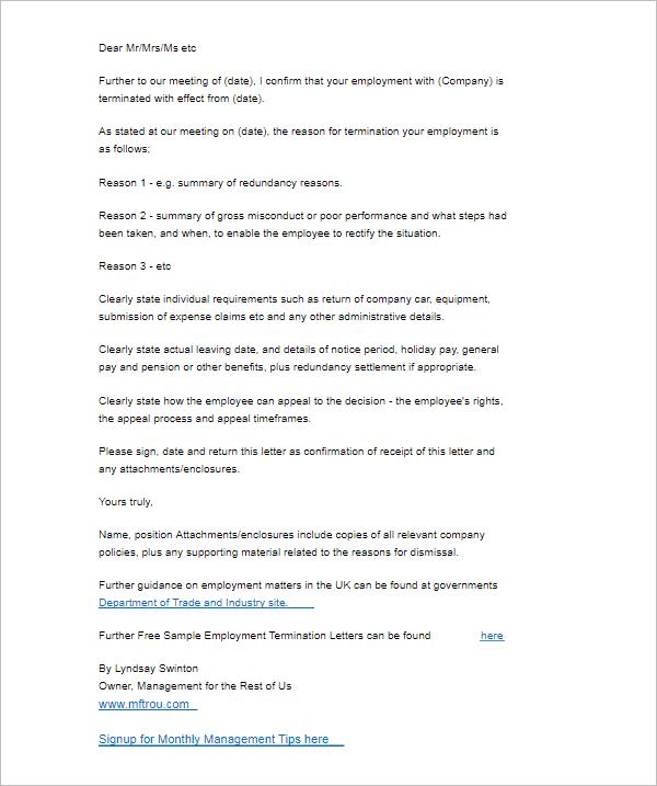 Termination Letter Sample Doc