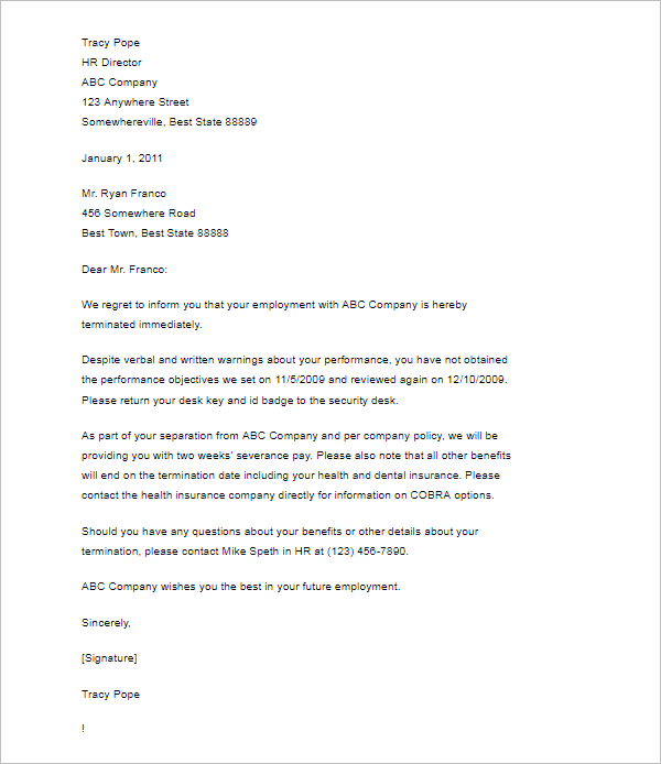 Termination Letter Without Cause