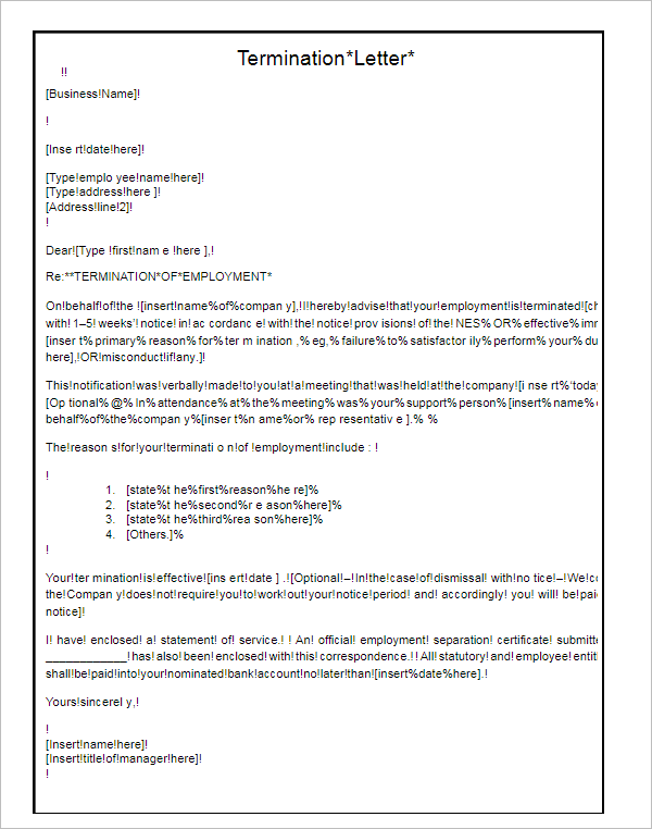Termination Letter for Company