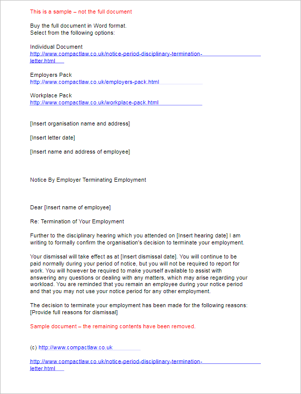 Termination Letter for Notice Period