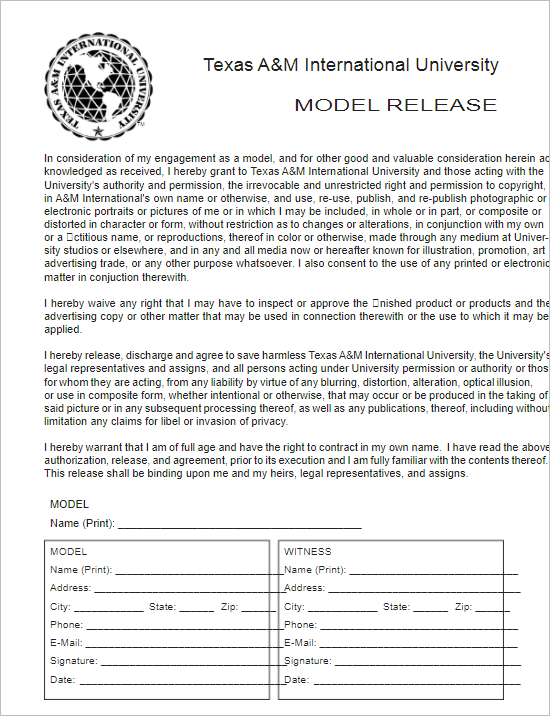 Texas Model Release Form