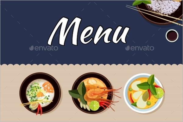 Thai Food Price Menu Vector Template