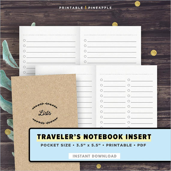Travelers Notebook Template