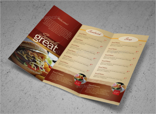 Tri-fold Take Out Menu Design