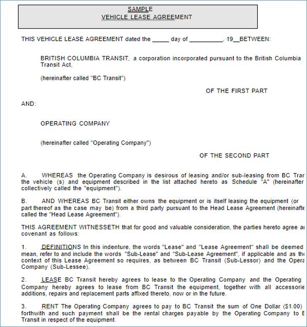 vehicle rental agreement
