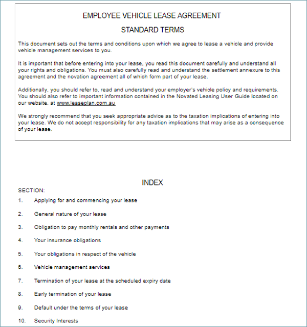 Vehicle Lease Agreement Example