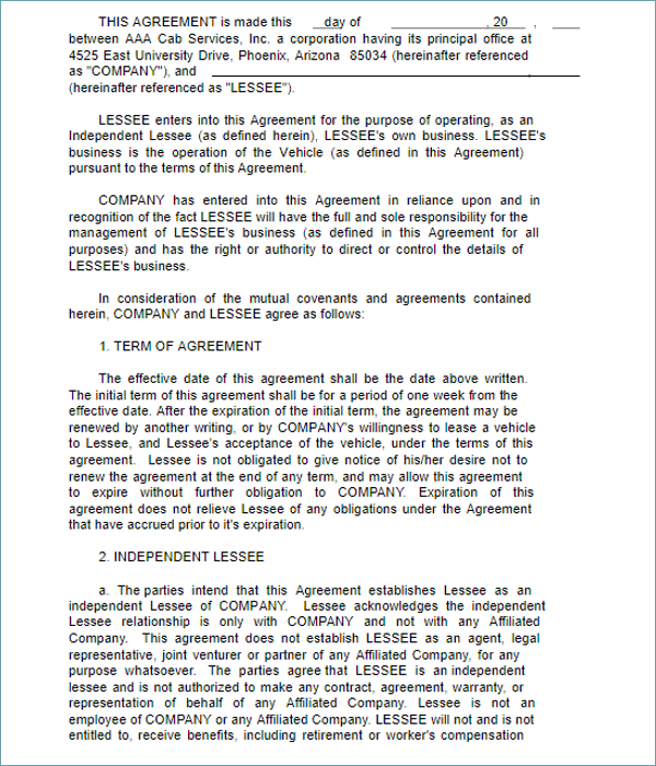 Vehicle Lease Agreement PDF