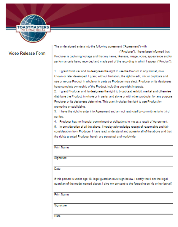 41 Release Form Templates Free Sample Word Format 3 Video Release Form  Template Maxwellsz