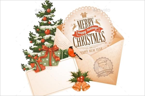 Vintage Christmas Envelope Template