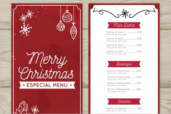 vintage christmas menu template - Christmas Menu Template