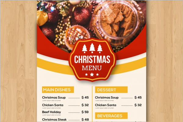 Vintage Holiday Menu Free