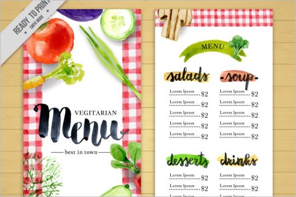 Watercolor Menu Vegan Restaurant