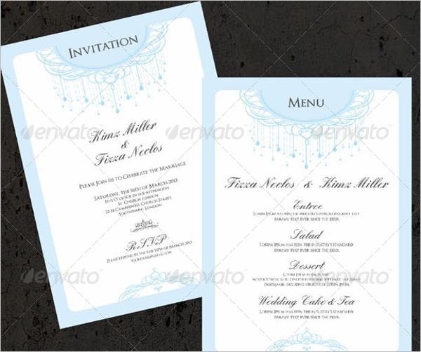 Wedding Invitation Menu Design