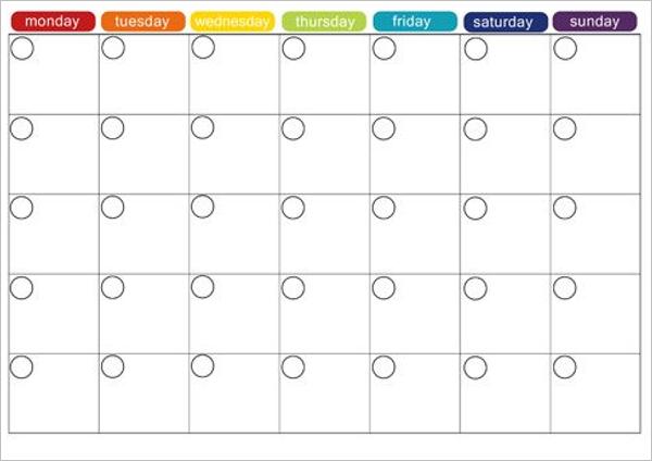 Weekly Menu Calendar Design