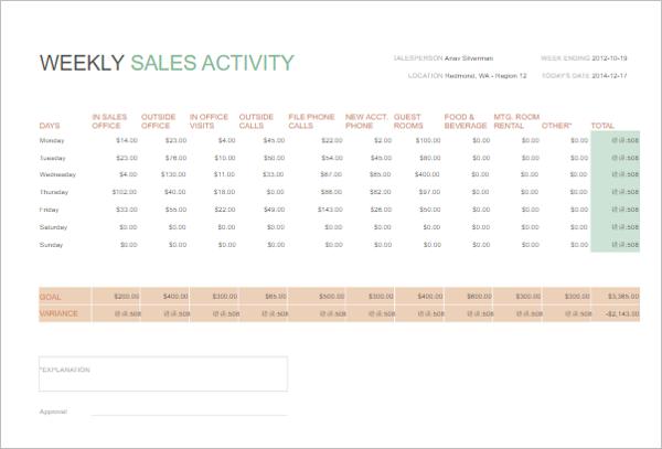 Weekly Sales Report Sample