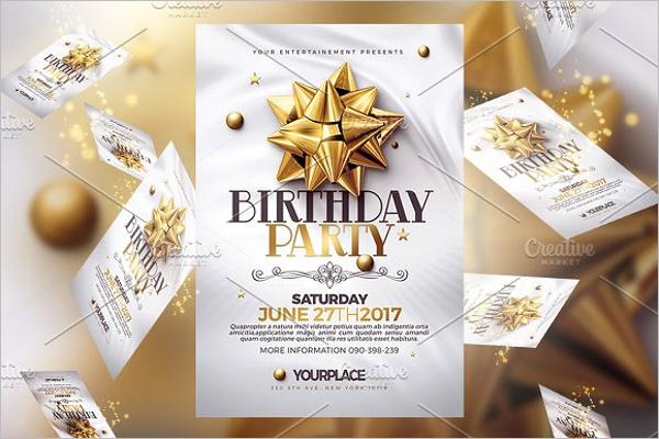 Word Birthday Party Flyer