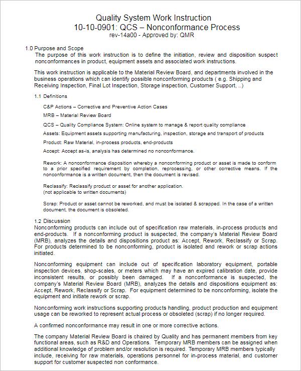 Work Instruction Sample PDF