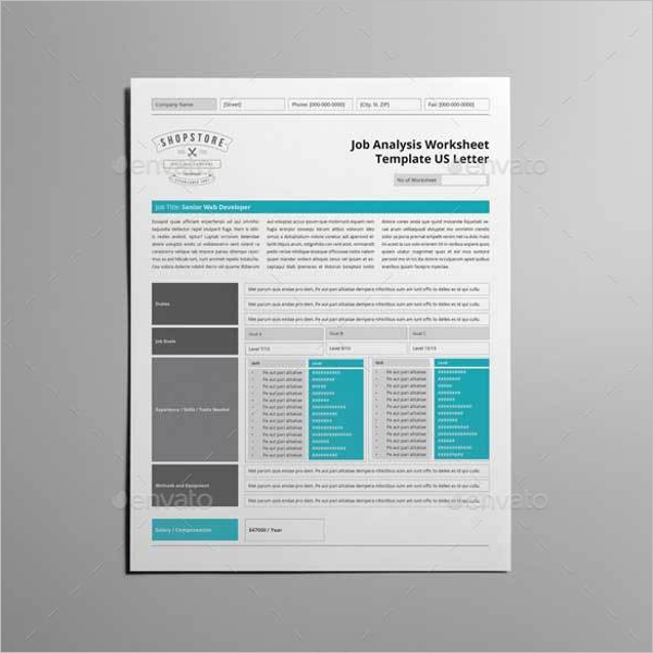 Worksheet Template US Letter