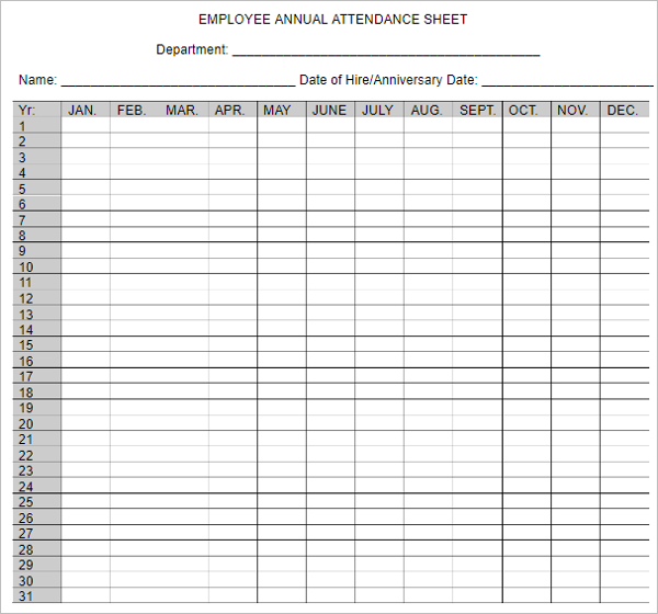 Yearly Attendance Sheet Template