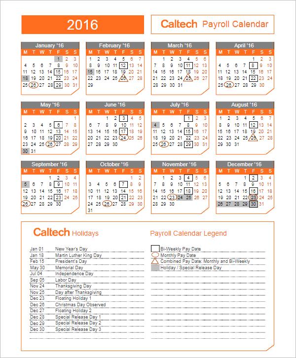Biweekly Payroll Calendar Template  Payroll Schedule Template