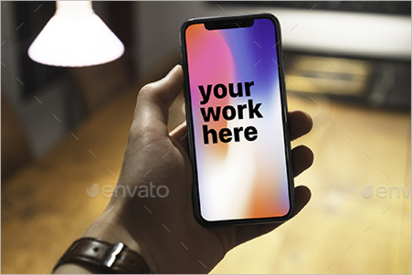 iPhone X Mockup With Hand