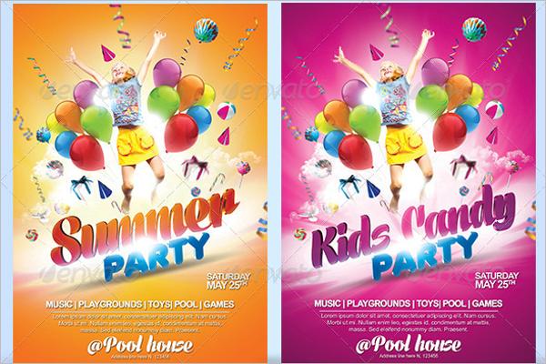 kiddie birthday party flyer Design