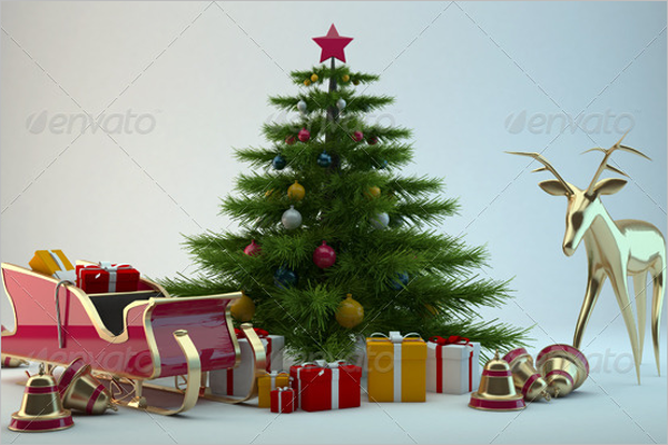 3D Christmas Scene Decoration