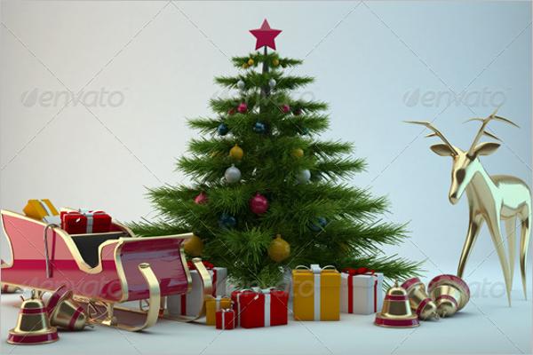 3D Christmas Scene Decoration
