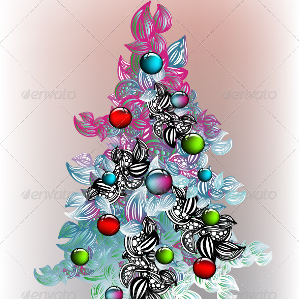Abstract Christmas Tree Drawing Template