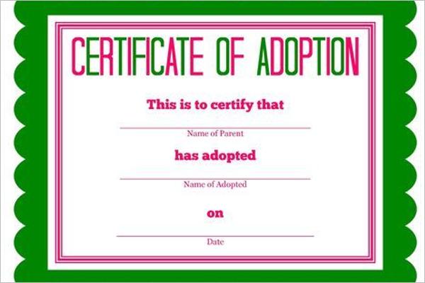 Adoption Birth Certificate Template