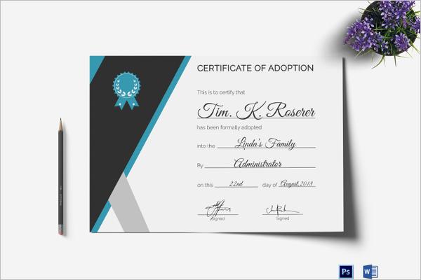 Adoption Certificate PSD Template