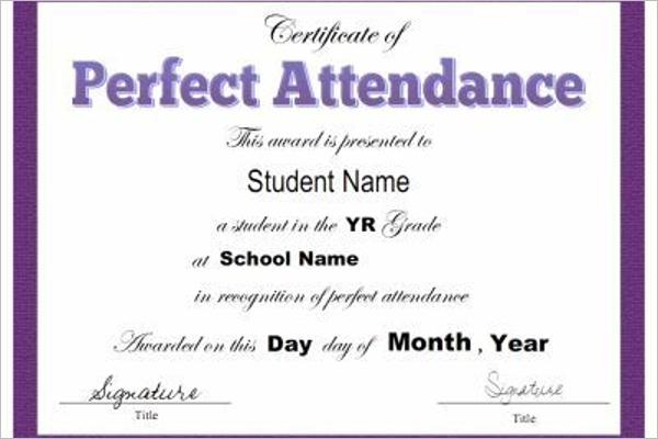 Attendance Certificate Format
