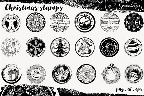 Black Christmas Tree Stamp Design