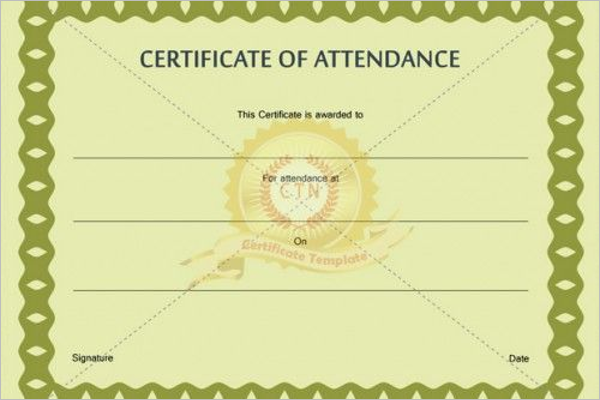 Certificate of Attendance Wording