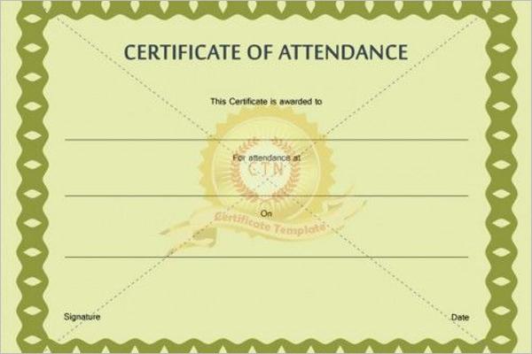 Certificate of Attendance Wording