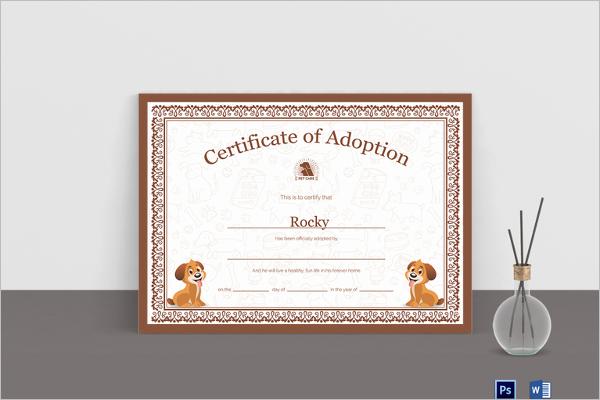 Child Adoption Certificate Template