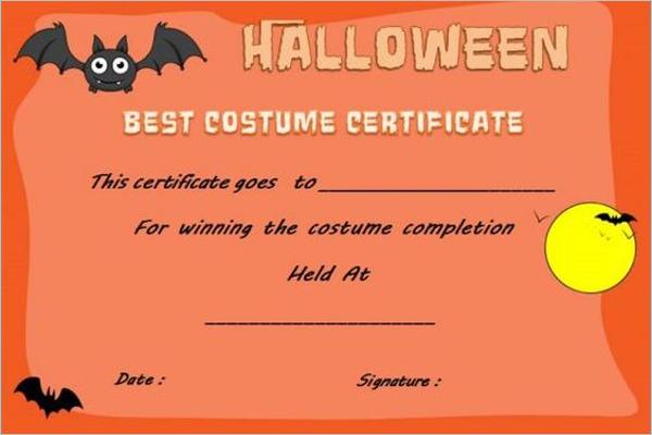 Children Halloween Certificate Design