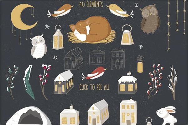 Christmas Elements PSD Design