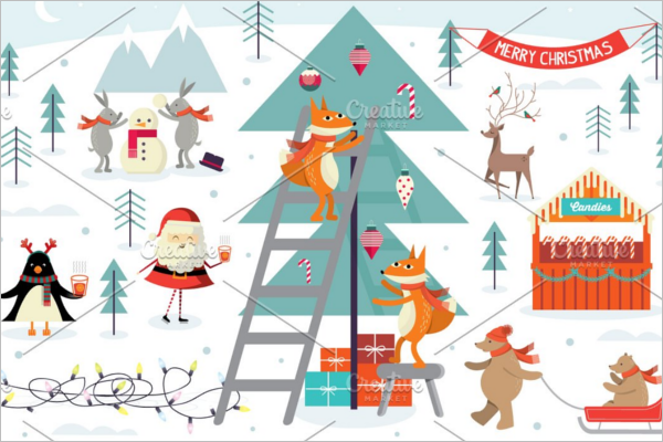 Christmas Scene Illustration Design