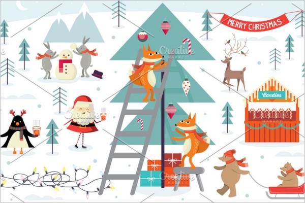 Christmas Scene Illustration Design