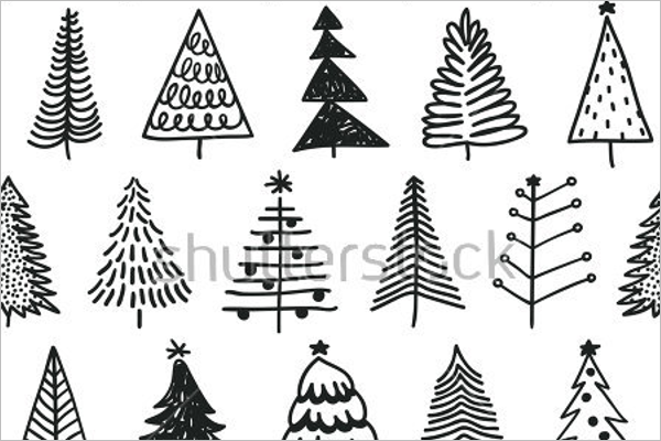 Christmas Tree Drawing Simple Design